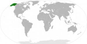 Weltkarte mit Alaska