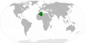 Weltkarte mit Algerien